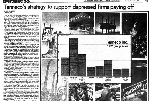Houston Chronicle inside page - December 4, 1983 - section 4, page 1. Tenneco's strategy to support depressed firms paying off