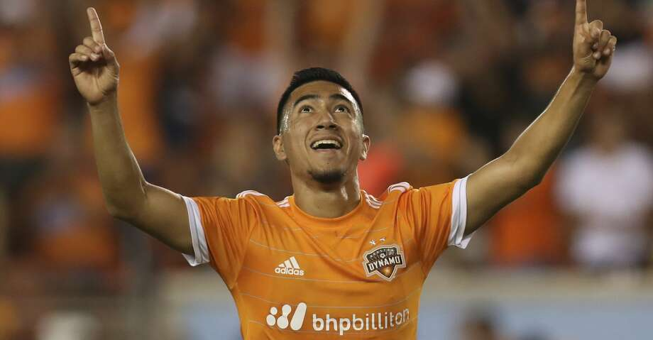 Houston Dynamo midfielder Memo Rodriguez (18) celebrates his goal during the second half of the game at BBVA Compass Stadium Wednesday, July 5, 2017, in Houston. ( Yi-Chin Lee / Houston Chronicle ) Photo: Yi-Chin Lee/Houston Chronicle