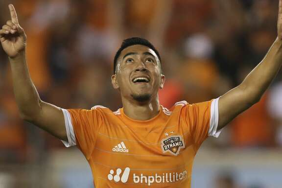 Houston Dynamo midfielder Memo Rodriguez (18) celebrates his goal during the second half of the game at BBVA Compass Stadium Wednesday, July 5, 2017, in Houston. ( Yi-Chin Lee / Houston Chronicle )