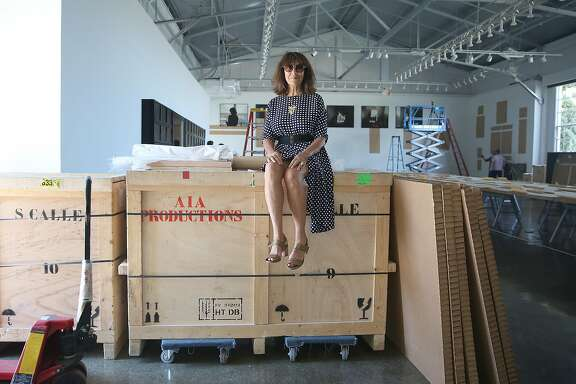 Artist Sophie Calle in her gallery space at Fort Mason on Thursday, June 22, 2017, in San Francisco, Calif.