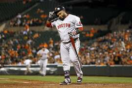 FILE - In this Sept. 15, 2015, file photo, Boston Red Sox's Pablo Sandoval removes his helmet and walks out of the batter's box after striking out swinging to end the top of the sixth inning of a baseball game against the Baltimore Orioles in Baltimore. The Red Sox on Wednesday, July 19, 2017, have released Sandoval because the third baseman didn't report after being designated for assignment last week. It officially ends the Boston tenure for the once-celebrated free agent, who never was healthy enough to live up to the expectations that came with the $95 million contract he signed in 2014. (AP Photo/Patrick Semansky, File)