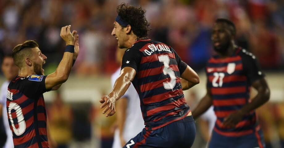 United States' Omar Gonzalez (C) reacts to scoring the first goal during their CONCACAF Gold Cup quarterfinal match against El Salvador at Lincoln Financial Field on July 19, 2017 in Philadelphia, Pennsylvania.  / AFP PHOTO / DOMINICK REUTERDOMINICK REUTER/AFP/Getty Images Photo: DOMINICK REUTER/AFP/Getty Images
