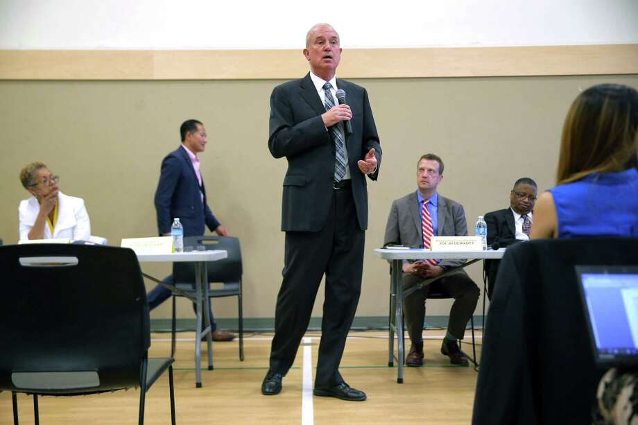 King County Sheriff John Urquhart answers questions during a public forum held by the family of Tommy Le, a 20-year-old high school student who was shot and killed by King County sheriff's deputies in June, Wednesday, July 19, 2017 at the Asian Counseling and Referral Service. Photo: GENNA MARTIN, SEATTLEPI.COM / SEATTLEPI.COM