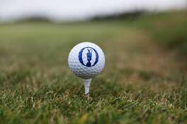 SOUTHPORT, ENGLAND - JULY 19:  An official Open logo golf ball on a tee during a practice round prior to the 146th Open Championship at Royal Birkdale on July 19, 2017 in Southport, England.  (Photo by Christian Petersen/Getty Images)