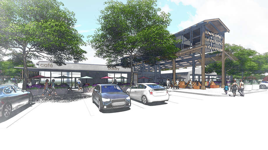 Rendering of the redeveloped Heights-area farmers market on Airline Drive. Photo: Courtesy Of MLB Capital Partners