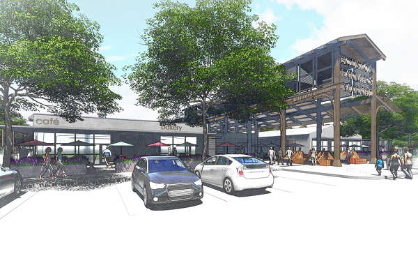 Rendering of the redeveloped Heights-area farmers market on Airline Drive.