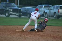 League City Pony 13-year-old all-star Tristan Zavalla can't come up with a low throw from his catcher that enabled a Westwood Terrace player to steal second during Wednesday night's South Zone-opening game. Offensively, Zavalla had basehits in his opening three at-bats.