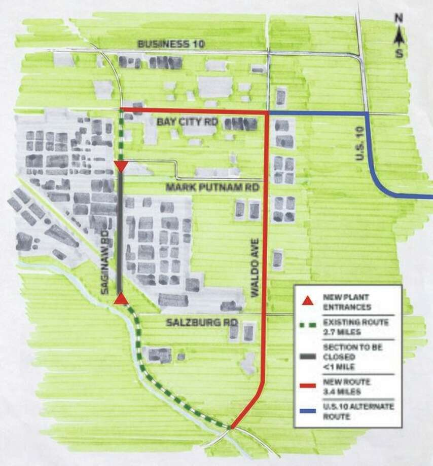 The portion of Saginaw Road from south of Mark Putnam Road to north of Salzburg Road would become part of Dow's plant and be closed to the public. It's a move that requires approval from the Midland City Council, which will hold a public hearing for the plan on Monday at 7 p.m. at City Hall, 333 W. Ellsworth St.