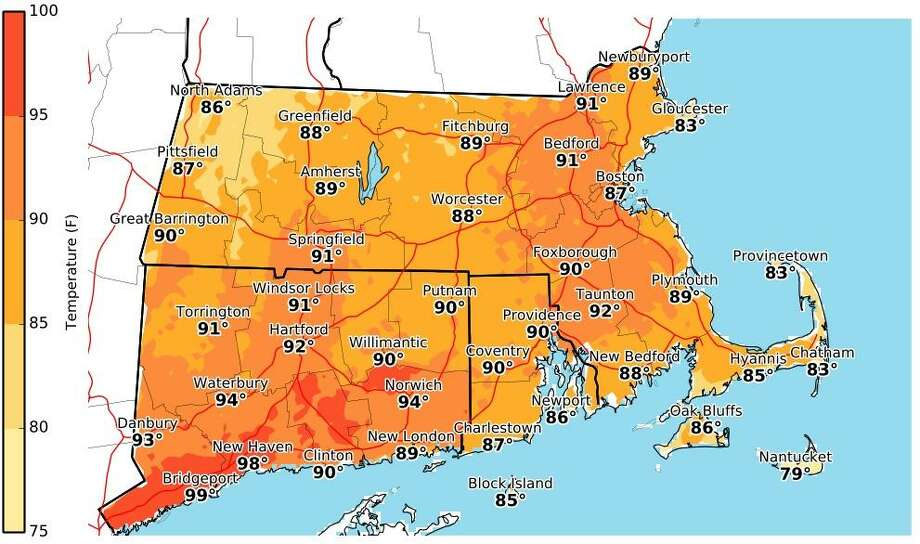 Here are the National Weather Service's forecasted heat index values for Thursday, July 20, 2017. With warm temperatures and high humidity, this is how hot it will feel. Photo: National Weather Service