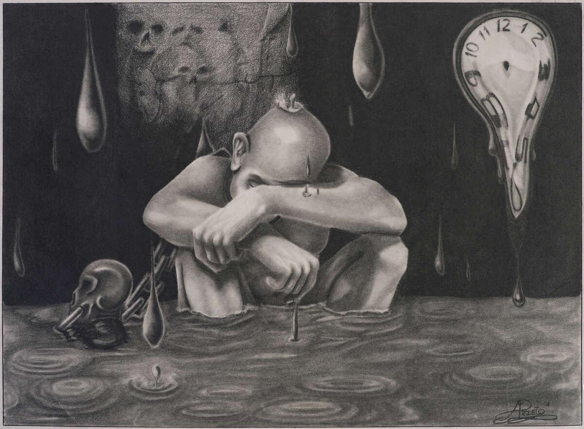 "Arnold Prieto's ""Self Portrait"" in ""Windows on Death Row."""