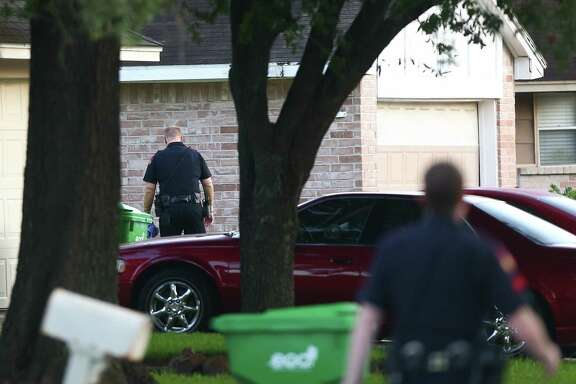 Harris County Precinct 4 Constable officers investigated the scene of a homicide on the 20000 block of River Brook Drive Thursday, July 20, 2017, in Houston.