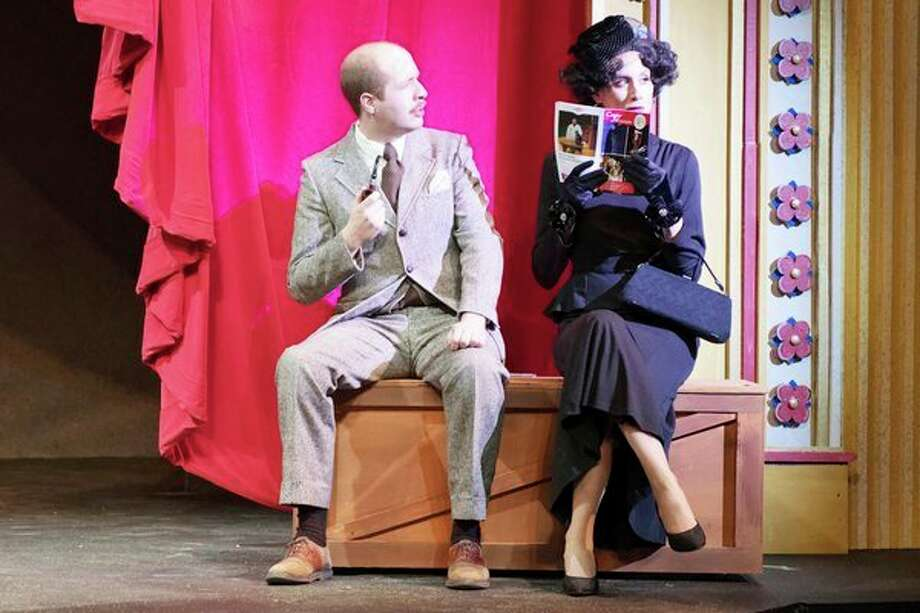 Zach Prout and Ashley Potts in a rehearsal of Alfred Hitchcock's 'The 39 Steps.' (Daily News file photo) / Steven Simpkins