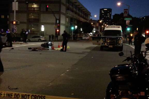 A motorcyclist died after crashing into a truck on Geary Boulevard near the Chinese Consulate on Wednesday night, July 20, 2017.