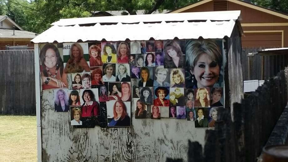 The shed sits next door to a listing held by realtor Tommy Simons, who said he knows a lot of the women in the photos. Click through to see photos of other weird homes. Photo: KTAB