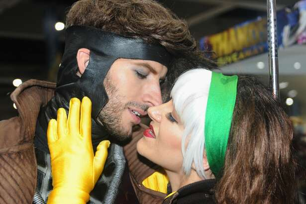 SAN DIEGO, CA - JULY 19:  Cosplayers Michael Huffman as Gambit and  Chrissy Lynn Kyle as Rogue from X-Men  attend Comic-Con International 2017 - Preview Night held at San Diego Convention Center on July 19, 2017 in San Diego, California.  (Photo by Albert L. Ortega/Getty Images)