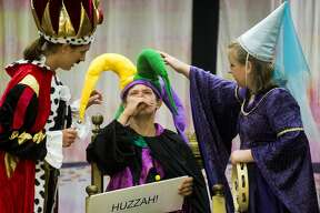 "Emma Roman, left, Kyle Kotanchek, center, and Helen Haight, right, rehearse Tuesday for ""Medieval MŽélange,"" a variety show presented by Summer Stage Theatre,  on Tuesday, July 13, 2017 at Midland First United Methodist Church."