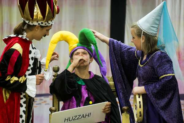 """Emma Roman, left, Kyle Kotanchek, center, and Helen Haight, right, rehearse Tuesday for """"Medieval MŽélange,"""" a variety show presented by Summer Stage Theatre,  on Tuesday, July 13, 2017 at Midland First United Methodist Church."""