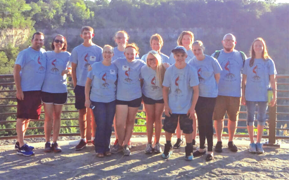 Mission trip participants are in front, from left: Sheila Page, Madison Kane, Kendall Smith, Casey Budden and Brittney Page. In back are, from left: Dave Rader, Trish Rader, Dustin Franke, Isabelle Kane, Rhonda Grammer, Brandy Page, Jordan Grammer and Sydney Grammer. Photo: For The Intelligencer