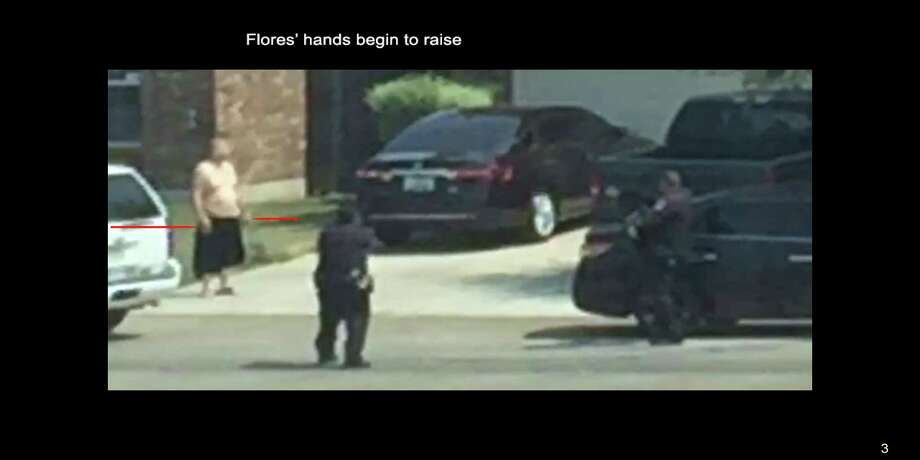 In a series of photos provided by attorney Thomas J. Henry, a sequence of events is explained in 92 frame grabs taken from a bystander's video.  Five of the 92 are displayed here complete with frame number and description as provided.  Henry is representing the wife of Gilbert Flores in a wrongful death suit against the Bexar County Sheriff's Department.In a series of photos provided by attorney Thomas J. Henry, a sequence of events is explained in 92 frame grabs taken from a bystander's video.  Five of the 92 are displayed here complete with frame number and description as provided.  Henry is representing the wife of Gilbert Flores in a wrongful death suit against the Bexar County Sheriff's Department. Photo: Photo Courtesy Of Thomas J. Henry