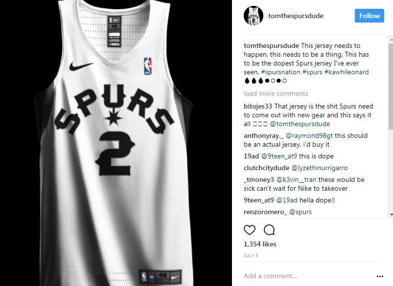 8bc54a1c113 ... Alternate Swingman climacool Jersey A Fiesta jersey Fans come up with  their own designs for Spurs uniform - San Antonio ...