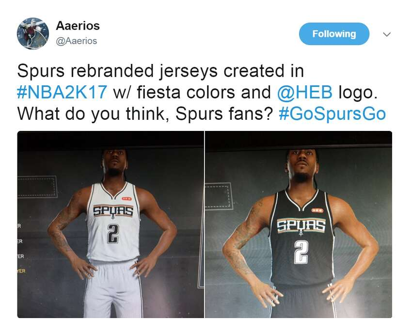 @Aaerios: Spurs rebranded jerseys created in #NBA2K17 w/ fiesta colors and @HEB logo. What do you think, Spurs fans? #GoSpursGo