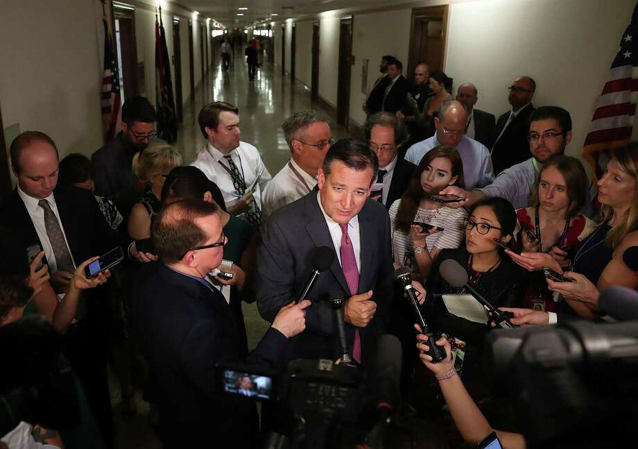 WASHINGTON, DC - JULY 19:  Sen. Ted Cruz (R-TX) speaks to reporters after attending a healthcare bill meeting with fellow Republican senators at the Dirksen Senate Office Building on July 19, 2017 in Washington, DC. The Republican Senators met to continue debate on a healthcare bill.  (Photo by Joe Raedle/Getty Images) Photo: Joe Raedle, Staff / Getty Images / 2017 Getty Images