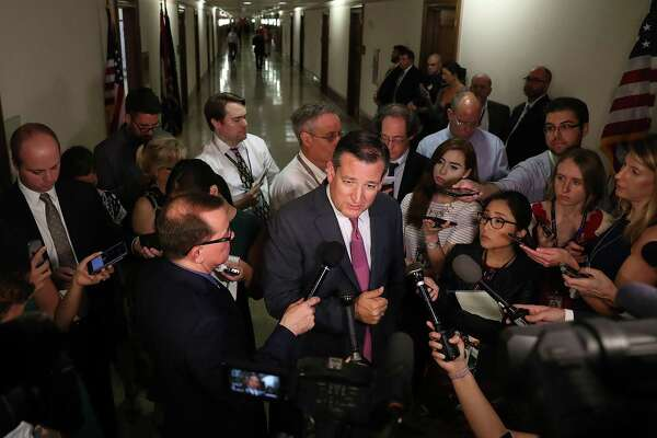 WASHINGTON, DC - JULY 19:  Sen. Ted Cruz (R-TX) speaks to reporters after attending a healthcare bill meeting with fellow Republican senators at the Dirksen Senate Office Building on July 19, 2017 in Washington, DC. The Republican Senators met to continue debate on a healthcare bill.  (Photo by Joe Raedle/Getty Images)