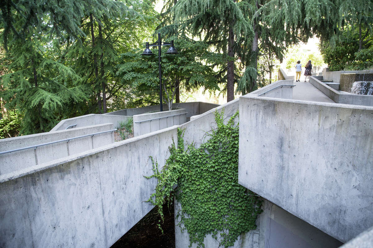 Freeway Park, seen on Wednesday, July 19, 2017. The city has recently completed an RFP for renovations to the park in hopes of making the aging park feel safer around its Brutalist corners and rooms.