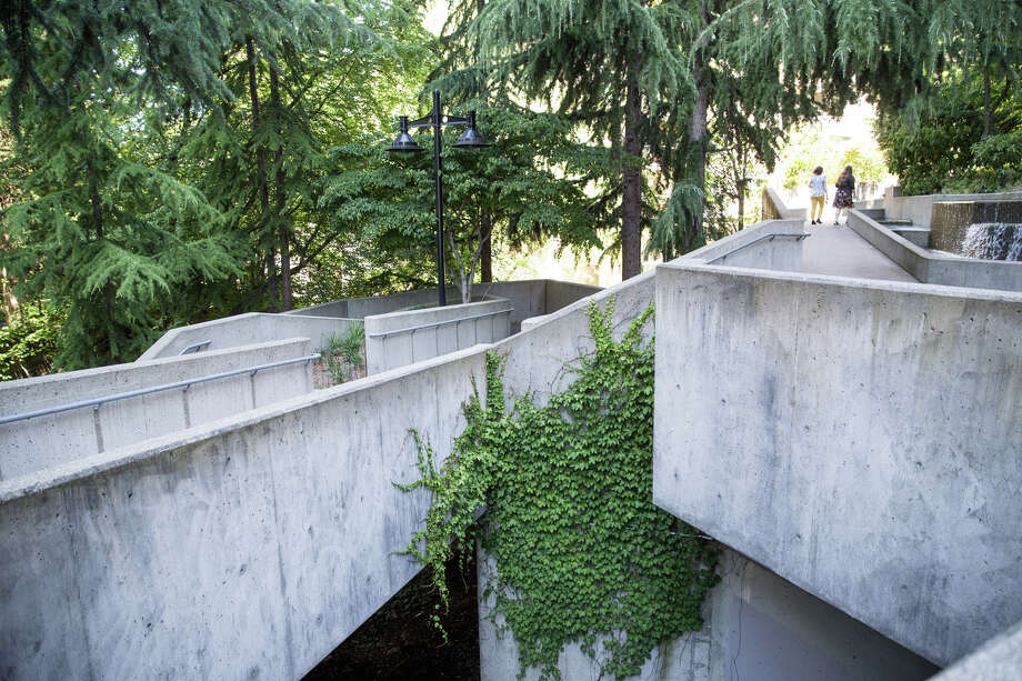Freeway Park, seen on Wednesday, July 19, 2017. The city has recently completed an RFP for renovations to the park in hopes of making the aging park feel safer around its Brutalist corners and rooms. Photo: GRANT HINDSLEY, SEATTLEPI.COM / SEATTLEPI.COM