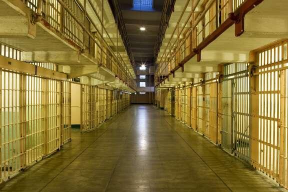 Cells inside Alcatraz Prison, an island prison in San Francisco Bay, off San Francisco, California, United States of America, North America