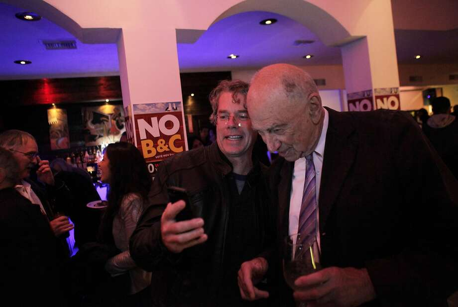 Jim Stearns, left, and Quentin Kopp on election night in 2013. Stearns is the subject of a new state elections complaint. Photo: Carlos Avila Gonzalez, The Chronicle