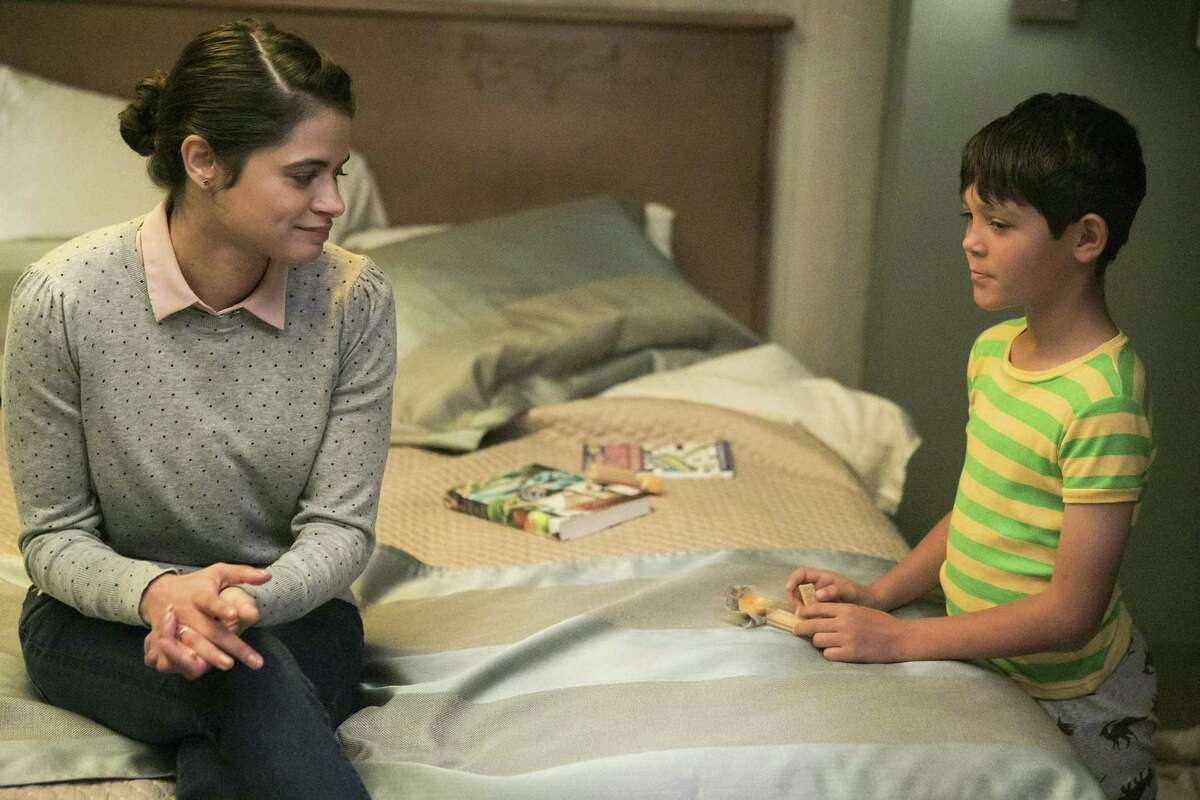 Melonie Diaz plays a babysitter looking after a boy (Ethan Kent) who warns her about an evil alter ego in the bathroom in