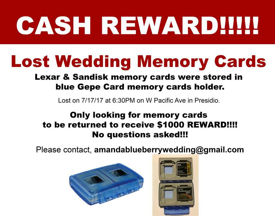 Photographer Amanda Tung printed these flyers offering a reward for the return of the memory cards with photos of Giavanna Acosta and Enzo Mineo's wedding. Photo: Courtesy Amanda Tung