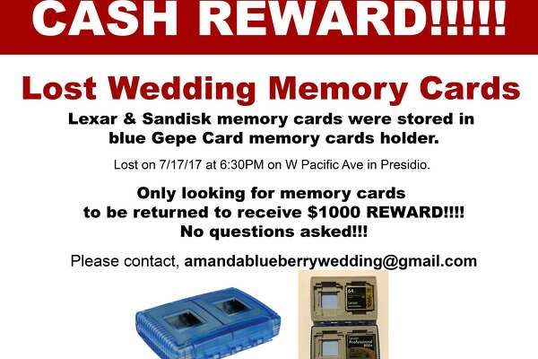 Photographer Amanda Tung printed these flyers offering a reward for the return of the memory cards with photos of Giavanna Acosta and Enzo Mineo's wedding.