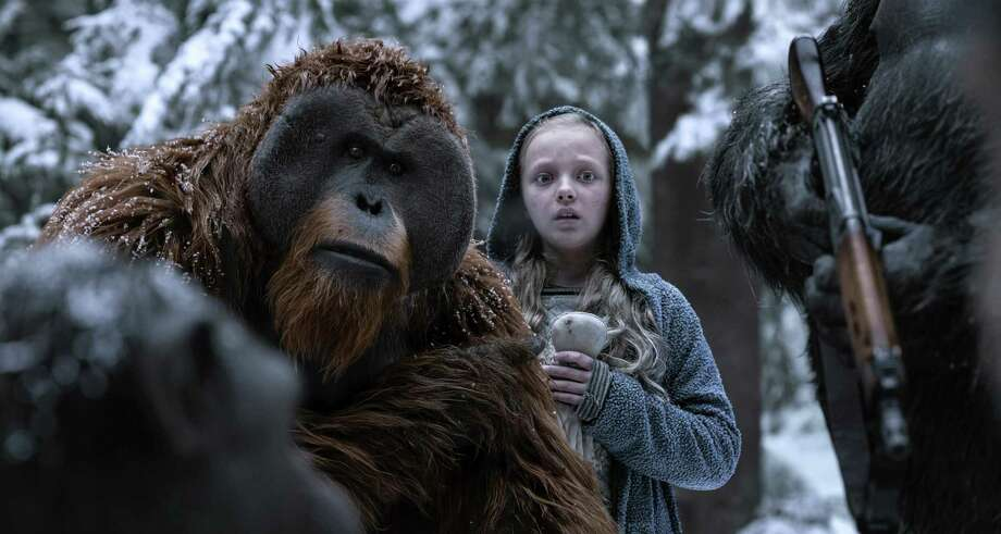 "Karin Konoval, left, and Amiah Miller in ""War for the Planet of the Apes."" Love it or simply like it, ""War "" is a conscientious and mostly successful attempt to take science fiction in a thoughtful and intelligent direction. Photo: Courtesy Of Twentieth Century Fox / Associated Press / TM & © 2017 Twentieth Century Fox Film Corporation. All Rights Reserved. Not for sale or duplication."