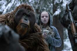 """Karin Konoval, left, and Amiah Miller in """"War for the Planet of the Apes."""" Love it or simply like it, """"War """" is a conscientious and mostly successful attempt to take science fiction in a thoughtful and intelligent direction."""