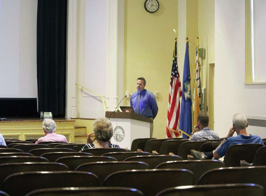 Mark McMillan, CT DOT National Register Specialist, speaks at town hall in Westport, Conn. on July 17, 2017. Photo: Laura Weiss / Hearst Connecticut Media / Westport News