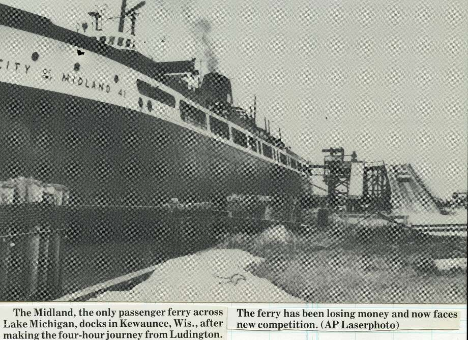 The City of Midland, the only passenger ferry across Lake Michigan, docks in Kewaunee, Wisconsin, after making the four-hour journey from Ludington. The ferry has been losing money and now faces new competition. (May 1986) Photo: Daily News File Photos