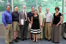 Some of the candidates endorsed by the Wilton Democratic Town Committee, along with vice chairman Tom Dubin and nominating committee chairman Paul Burnham, after the Democratic caucus on Wednesday, July 19, 2017.