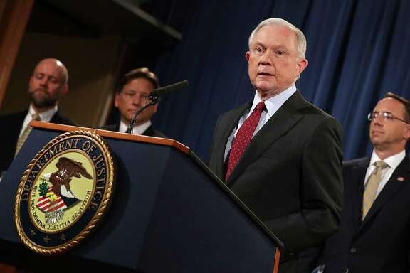 Attorney General Jeff Sessions said the Justice Department shot down the world's largest online black market, known as AlphaBay, which was a successor to the first and most famous market operating on the so-called darknet, Silk Road. Authorities took down Silk Road in October 2013.