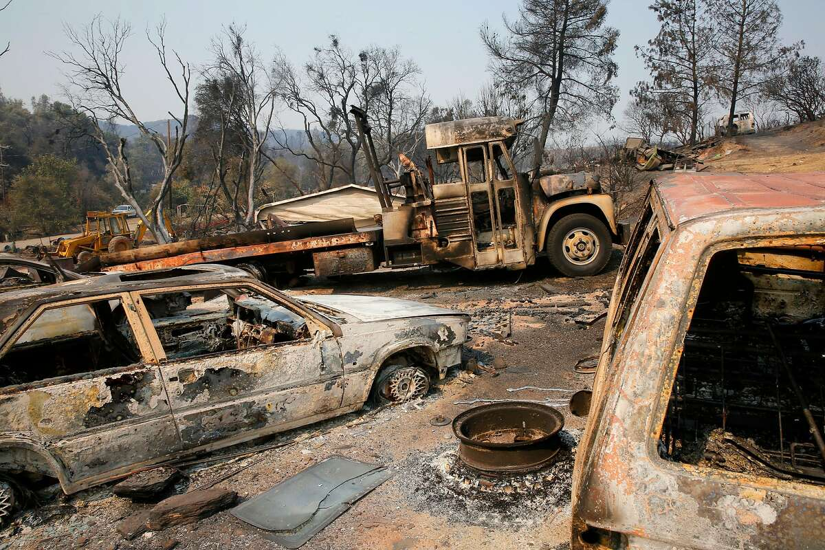 Structures and vehicles were destroyed as the fast moving fire tore through Mt. Bullion, Ca. on Tuesday night, as seen on Thursday July 20, 2017.