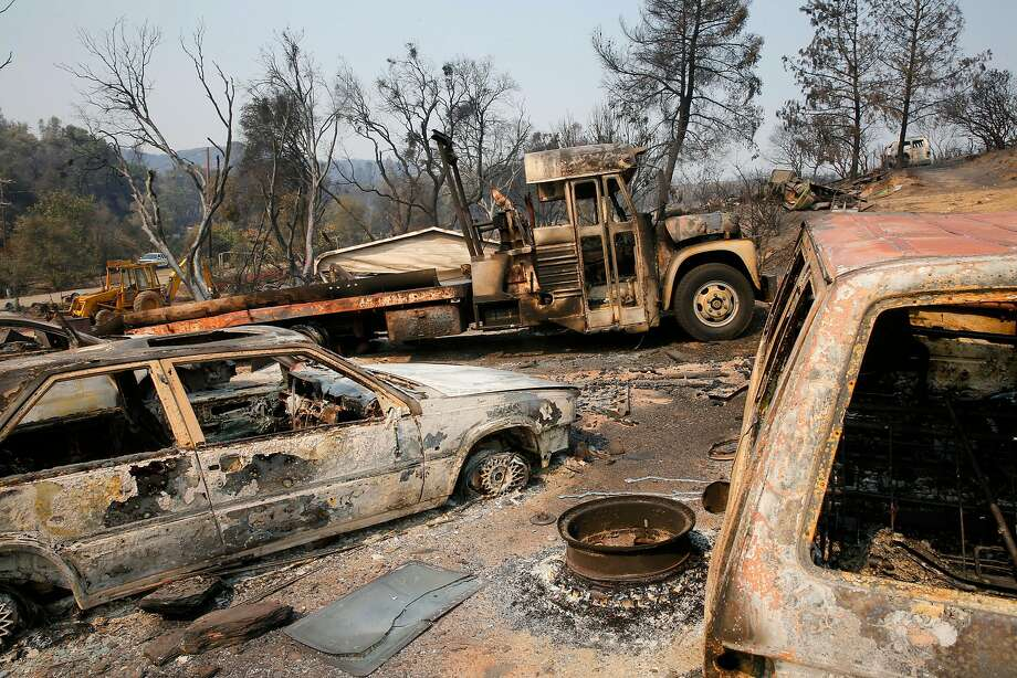 Structures and vehicles were destroyed as the fast moving fire tore through Mt. Bullion, Ca. on Tuesday night, as seen on Thursday July 20, 2017. Photo: Michael Macor, The Chronicle