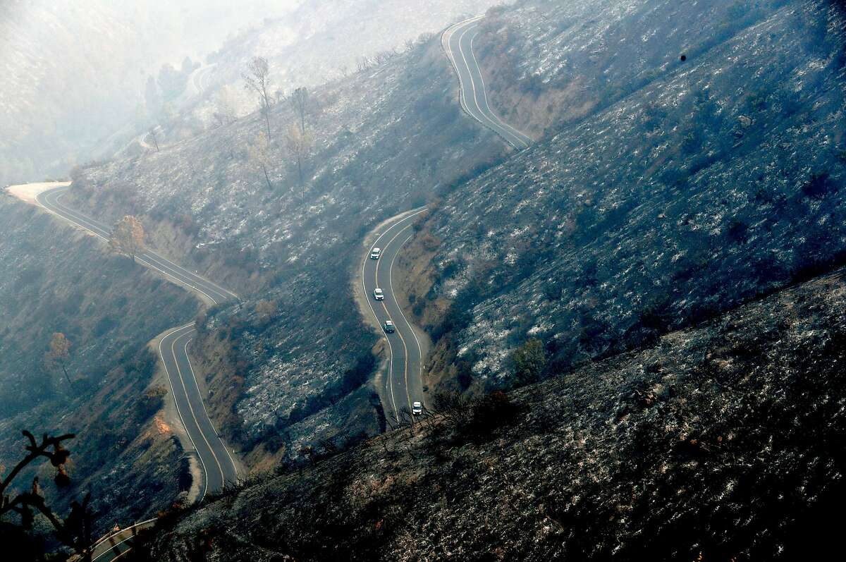 A scorched Highway 49 north of Mariposa, Ca., on Thursday July 20, 2017.
