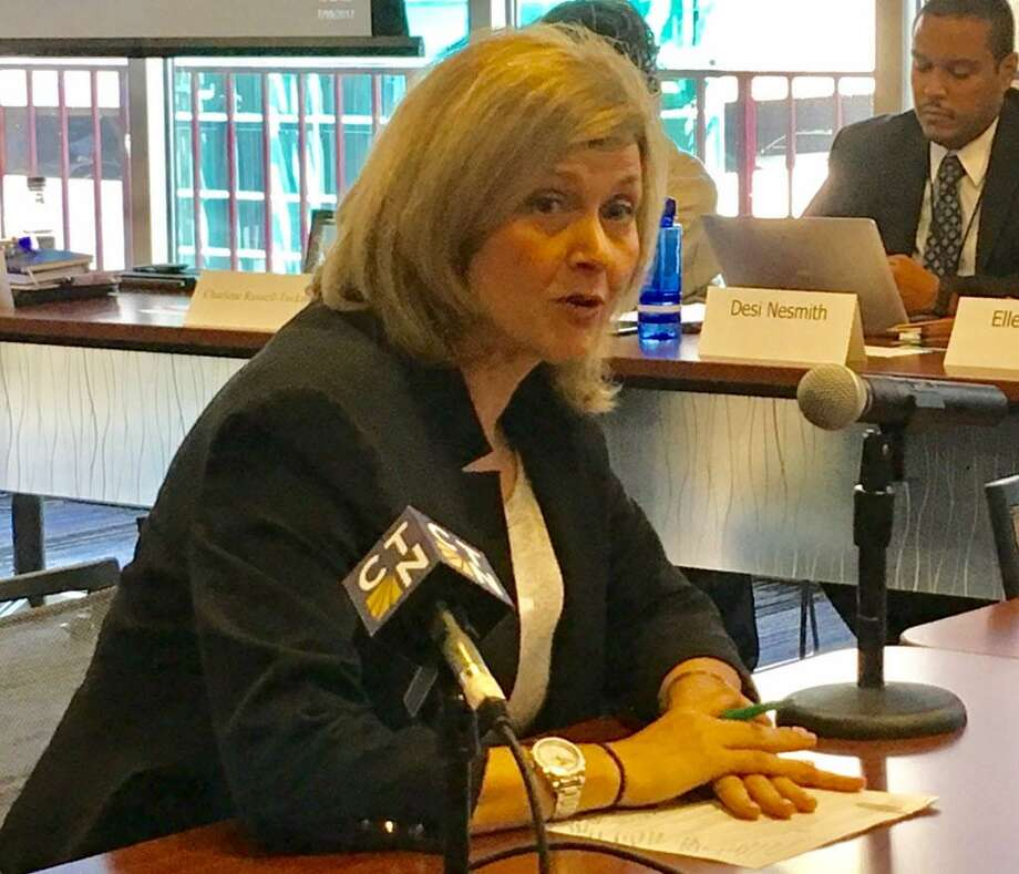 Fairfield University Professor Jule McCombes-Tolis addresses the state Board of Education in Hartford. Photo: Linda Conner Lambeck / Linda Conner Lambeck