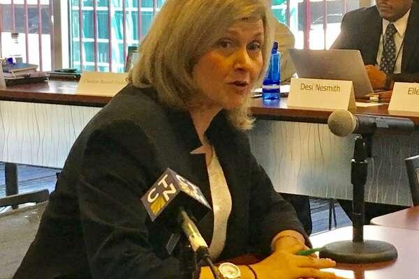 Fairfield University Professor Jule McCombes-Tolis addresses the state Board of Education in Hartford.