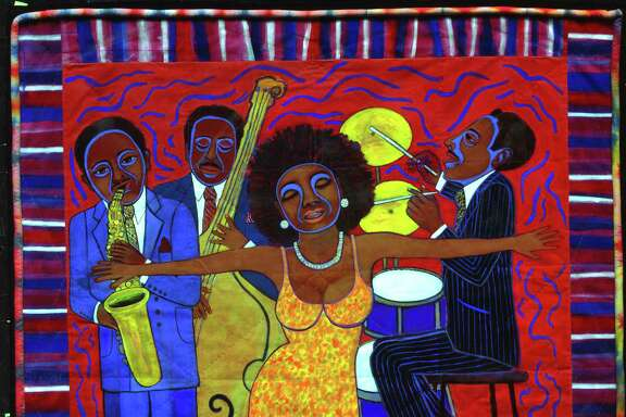 """Jazz Stories: Mama Can Sing, Papa Can Blow #1: Somebody Stole My Broken Heart"" is among works in the exhibition ""The Magnificent Faith Ringold"" at the Houston Museum of African-American Culture July 22-Sept.25."