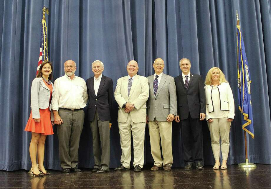 Democratic candidates received their endorsements at the DTC caucus in the town hall of Darien, Conn. on July 19, 2017.From left: Jennifer Leahy, Glenn Ritch, Frank Huck, Michael Burke, Marc Thorne, Rob Richards and Pam Sparkman Photo: Erin Kayata / Hearst Connecticut Media / Darien News