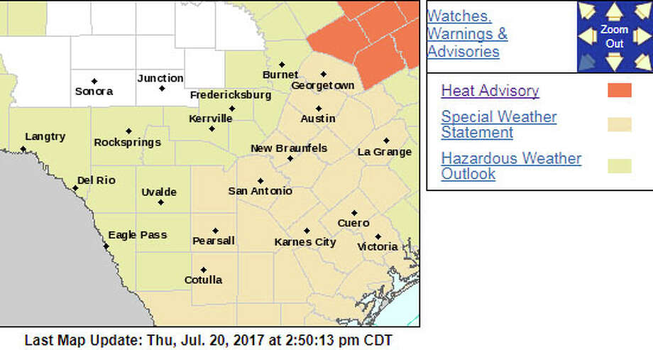The National Weather Service is advising Bexar County to take extra precautions this weekend as excessive heat will hit South Central Texas. Photo: Photo: National Weather Service