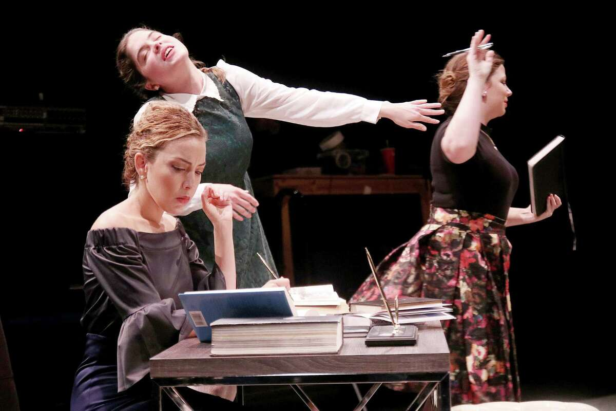 """From left, Lisa Villegas as Kate, Clara Marsh as Bess and Joanna Hubbard as Mary in Main Street Theater's """"The Last Wife"""""""