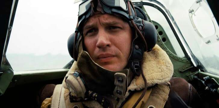 """This image released by Warner Bros. Pictures shows Tom Hardy in a scene from """"Dunkirk."""" (Warner Bros. Pictures via AP)"""